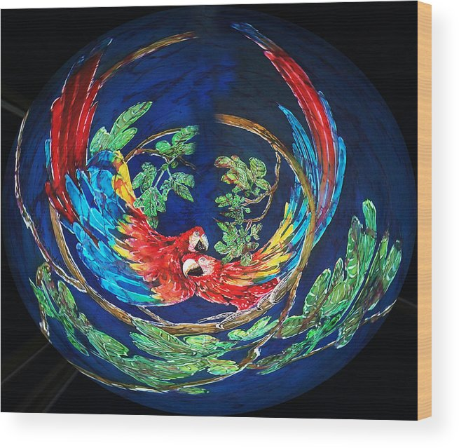 Parrots Wood Print featuring the painting Parrots Go Round by Sue Duda
