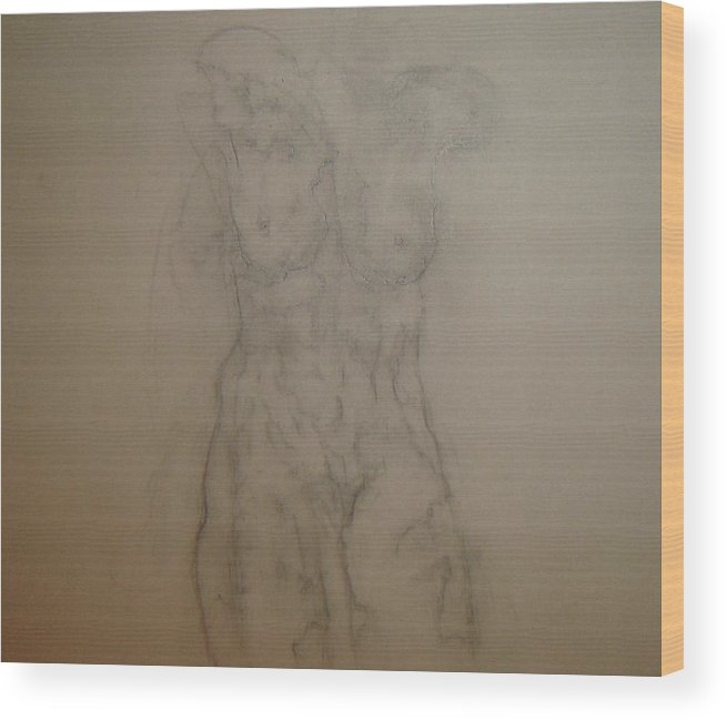 Female Nude Wood Print featuring the drawing Pretty Soon by Dean Corbin