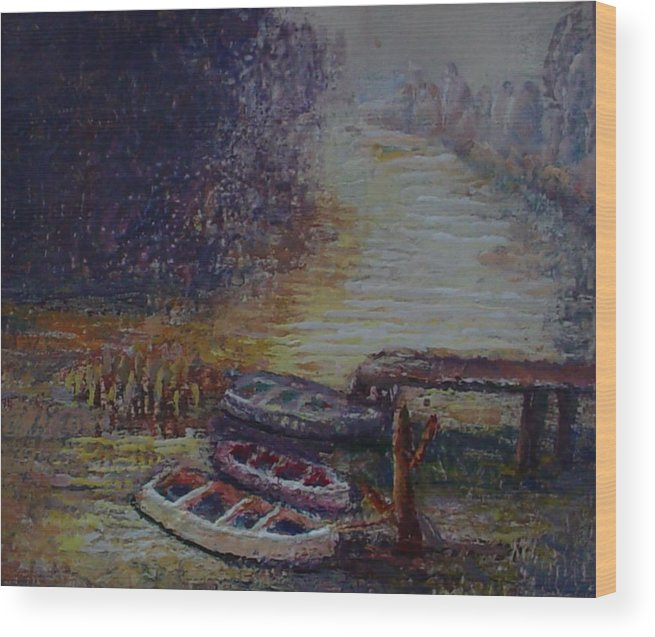 Boats Wood Print featuring the painting Quiet Places by Helen Musser