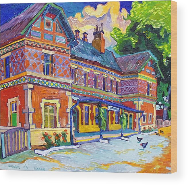 Lednice Wood Print featuring the painting Railway Station In Lednice by Vitali Komarov