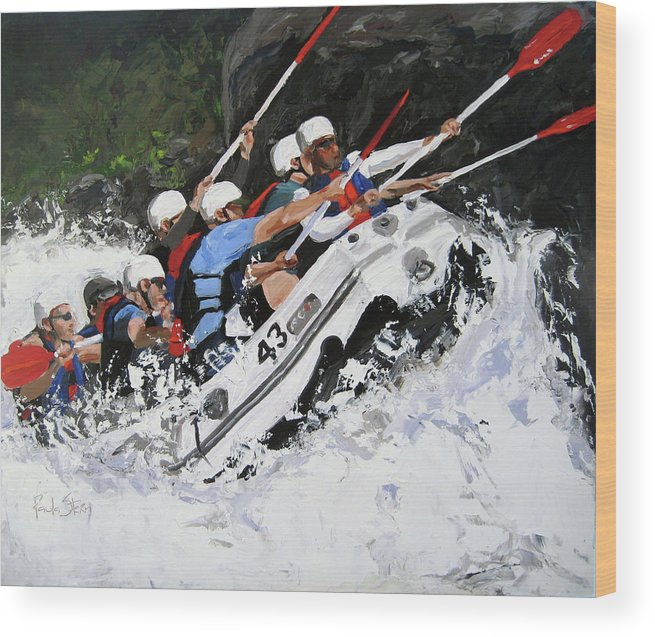 Boat Wood Print featuring the painting Rapid Response by Paula Stern