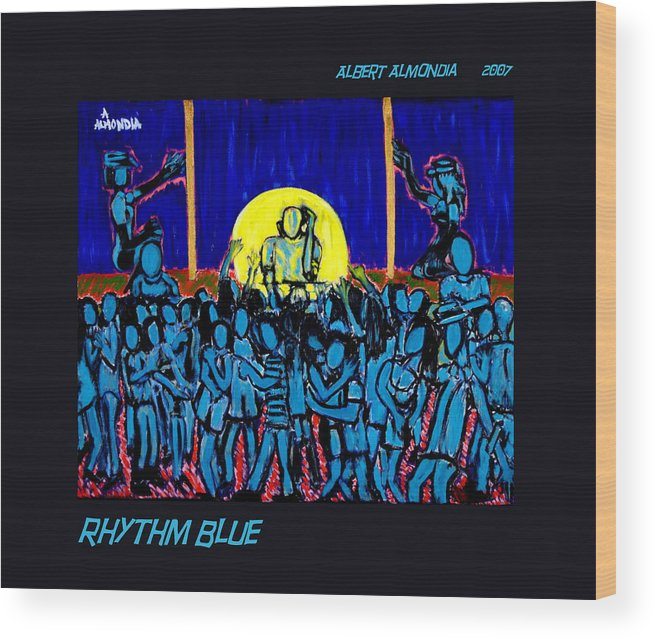 Dancing Wood Print featuring the painting Rhythm Blue by Albert Almondia