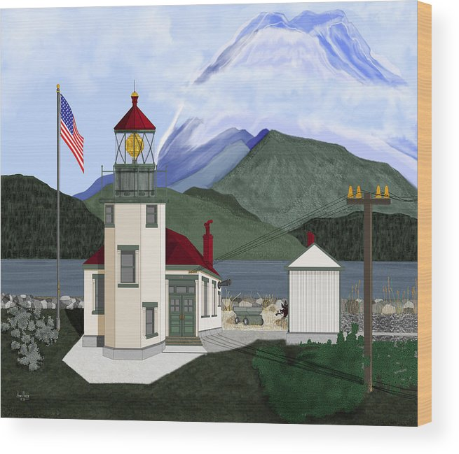 Point Robinson Lighthouse Wood Print featuring the painting Robinson Point With Mount Rainier by Anne Norskog