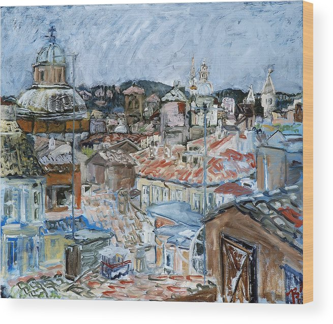 Cityscape Wood Print featuring the painting Roofs Of Rome by Joan De Bot