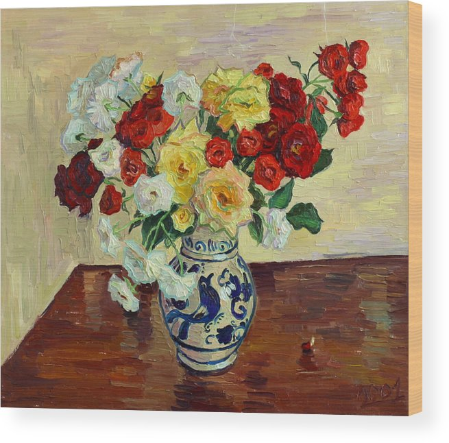 Rose Wood Print featuring the painting Roses In Chinese Vase by Vitali Komarov