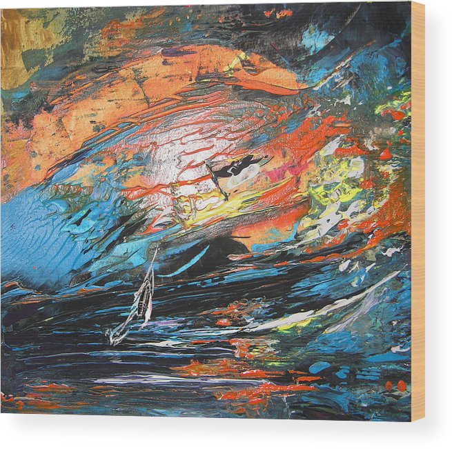 Acrylics Wood Print featuring the painting Seastorm by Miki De Goodaboom