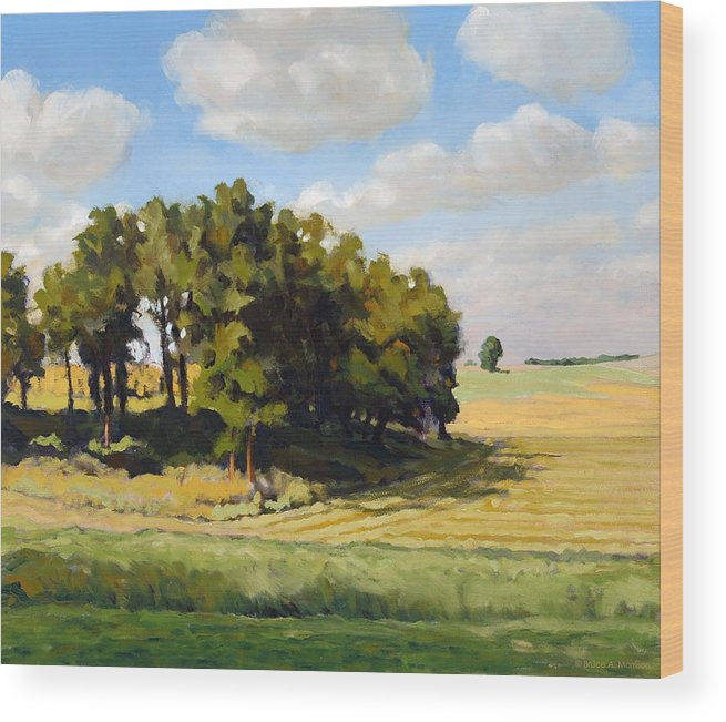 Landscape Wood Print featuring the painting September Summer by Bruce Morrison