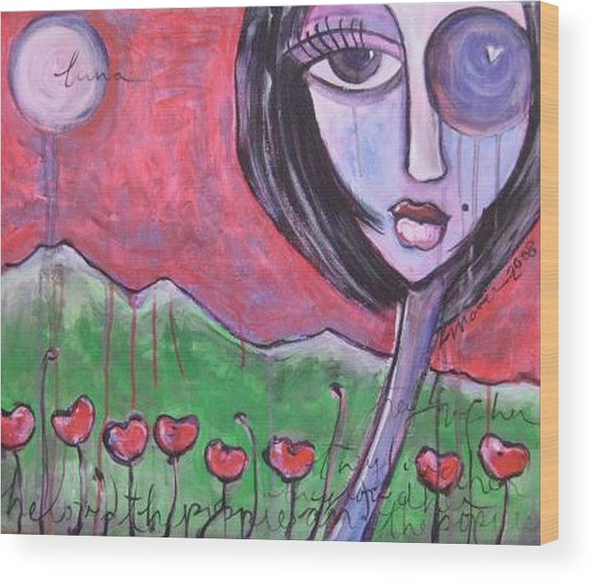 Poppies Wood Print featuring the painting She Loved The Poppies by Laurie Maves ART