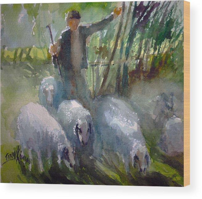 Country Wood Print featuring the painting Shepherd... by Faruk Koksal