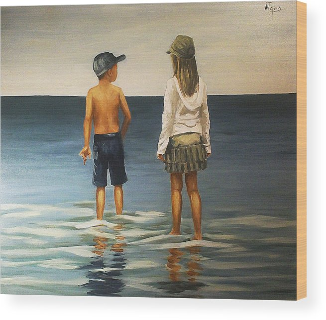 Seascape Kid Child Girl Boy Reflection Water Sea Ocean Beach Wood Print featuring the painting Sister And Brother by Natalia Tejera