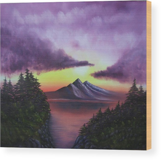 Sunset Wood Print featuring the painting Sunset In Mountains Original Oil Painting by Natalja Picugina
