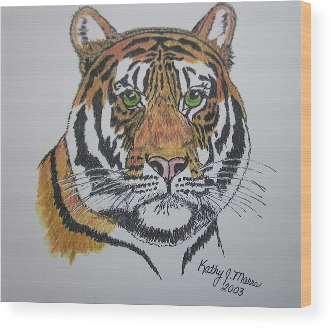 Bengal Wood Print featuring the painting Tiger by Kathy Marrs Chandler