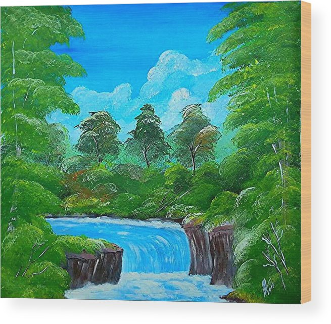 Water Falls Wood Print featuring the painting Tropical Falls by Collin A Clarke