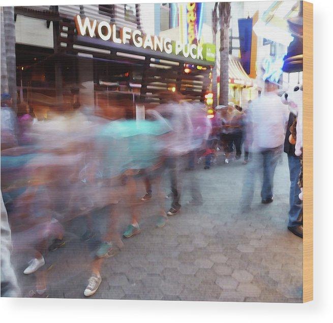 Street Scene Wood Print featuring the photograph Wolfgang Puck by David BERNARD