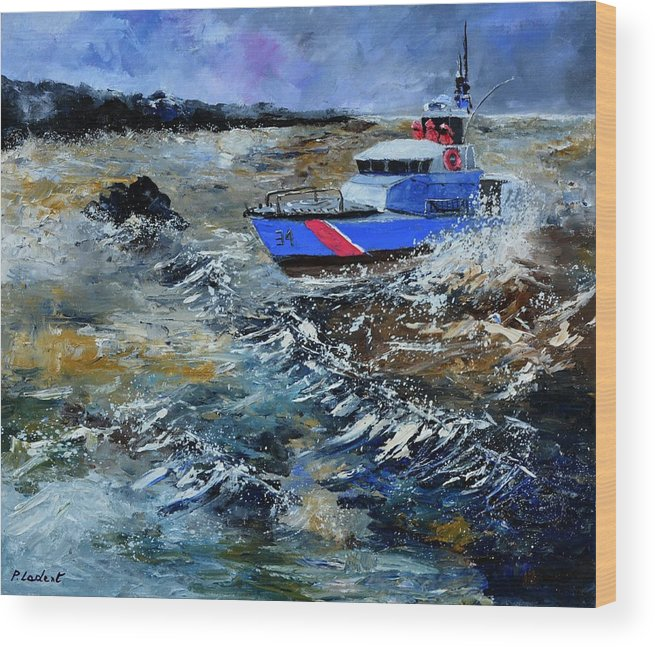 Seascape Wood Print featuring the painting Coastguards by Pol Ledent