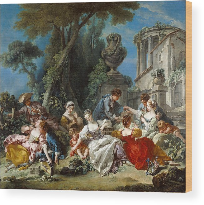 Boucher Wood Print featuring the painting The Bird Catchers by Francois Boucher