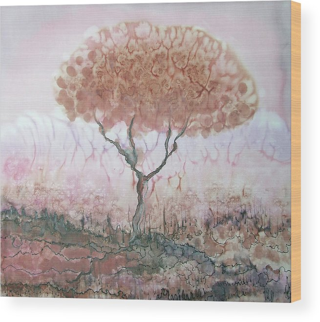 Silk Wood Print featuring the painting Silk Tree In Brown And Purple by Rachel Hershkovitz