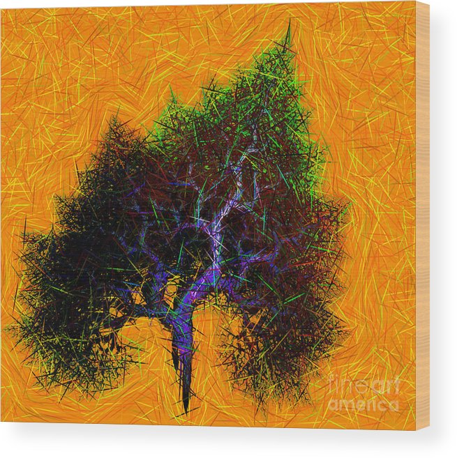 Tree Wood Print featuring the digital art Was A Crooked Tree Grunge Art by Richard Ortolano