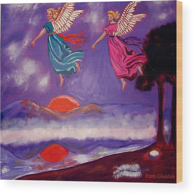 Angels Wood Print featuring the painting A Feather From The Breath Of God by Rusty Gladdish