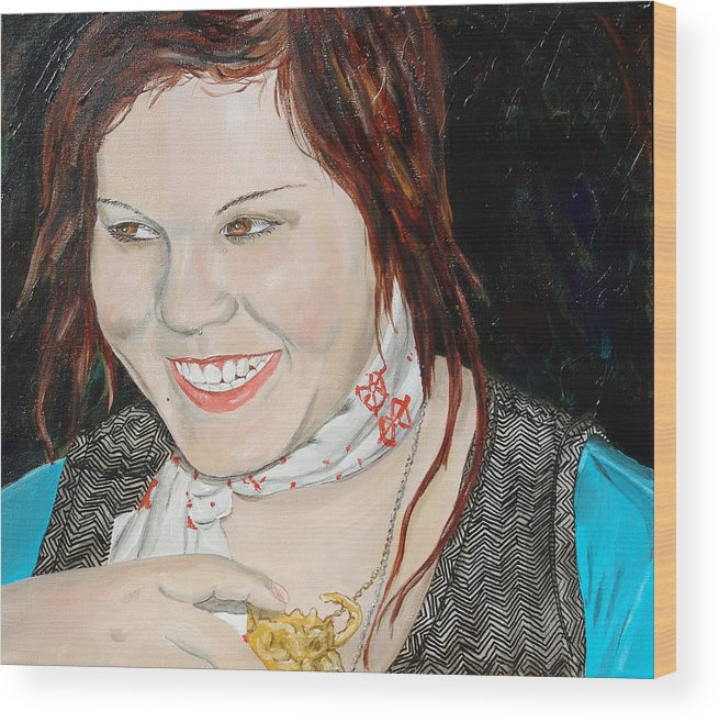 Kevin Callahan Wood Print featuring the painting Alyssa Smiles by Kevin Callahan