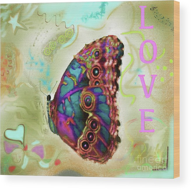 Butterfly Wood Print featuring the digital art Butterfly In Beige And Teal by Shelly Tschupp
