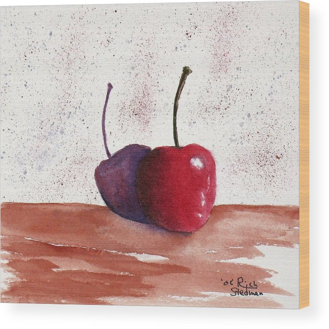 Food And Beverage Wood Print featuring the painting Cheery Cherry by Rich Stedman