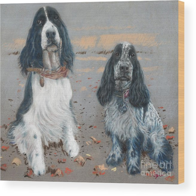 Dogs Wood Print featuring the pastel Cocker Spaniels by Suzie Majikol Maier