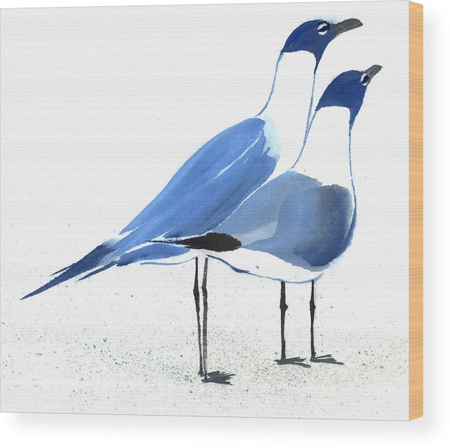 A Couple Of Sea Birds Standing Still.  This Is A Contemporary Chinese Ink And Color On Rice Paper Painting With Simple Zen Style Brush Strokes.  Wood Print featuring the painting Content by Mui-Joo Wee