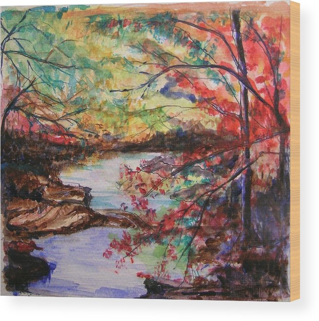 Creek Wood Print featuring the painting Creek Blue Ridge Mountains by Lizzy Forrester