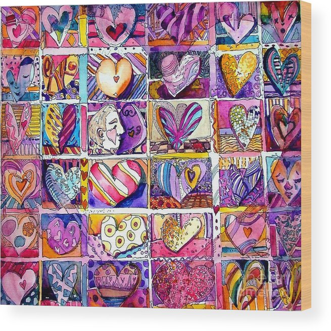 Love Wood Print featuring the painting Heart 2 Heart by Mindy Newman
