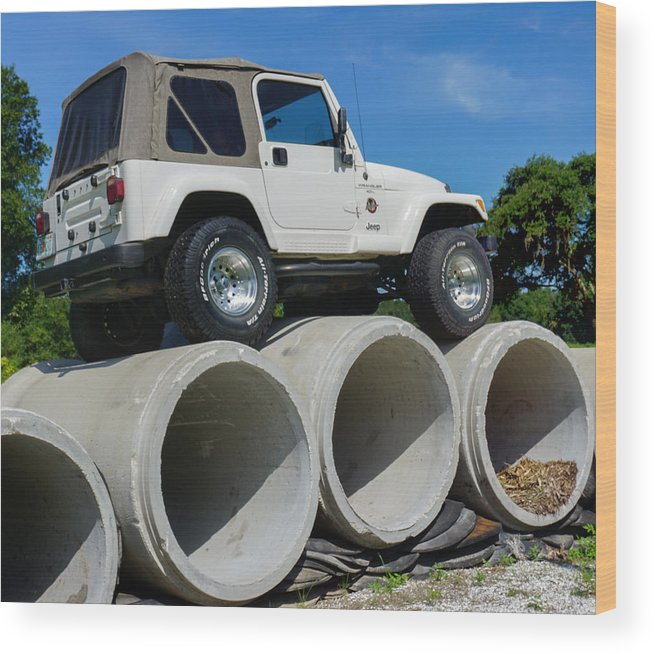 Jeep Wood Print featuring the photograph Help I Need Some To Push by Dennis Dugan