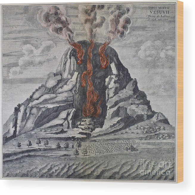 1665 Wood Print featuring the photograph Mount Vesuvius, 1665 by Granger
