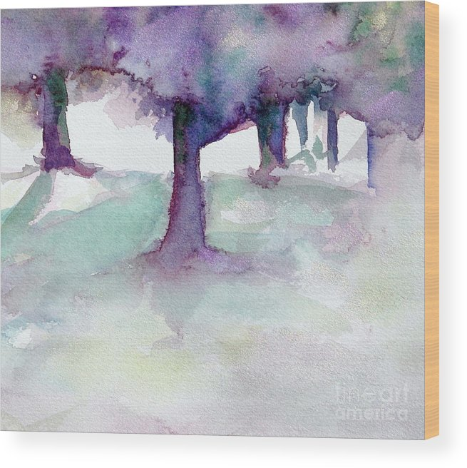 Landscape Wood Print featuring the painting Purplescape II by Jan Bennicoff