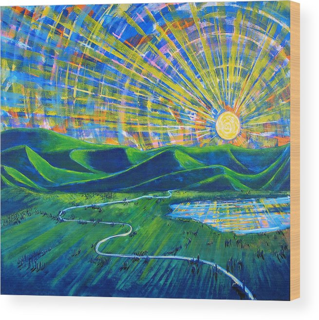 Sun Wood Print featuring the painting Sunscape by Rollin Kocsis