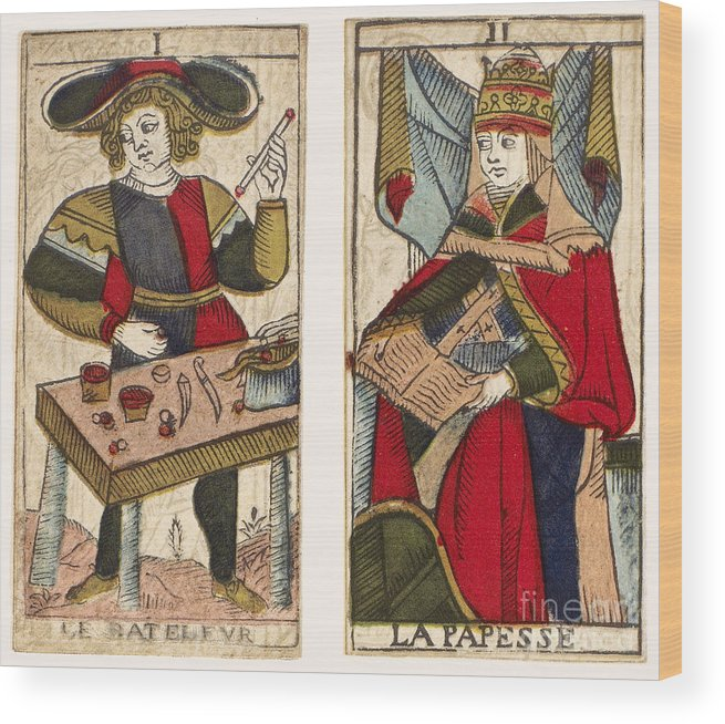 18th Century Wood Print featuring the photograph Tarot Cards, C1700 by Granger