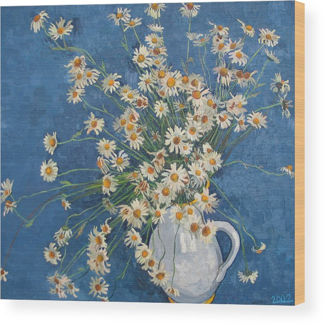Flower Wood Print featuring the painting White Chamomile Flowers With Blue Background by Vitali Komarov