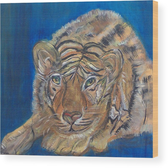 Tiger Wood Print featuring the painting Contented Tiger by Mikki Alhart