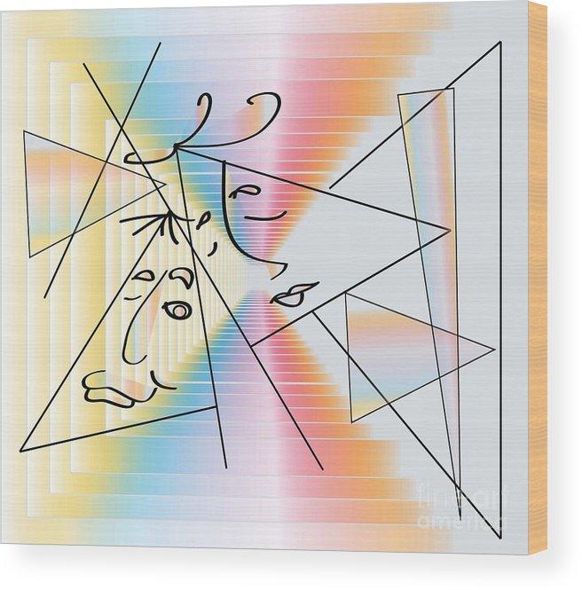 Digital Art Wood Print featuring the digital art Faces by Iris Gelbart