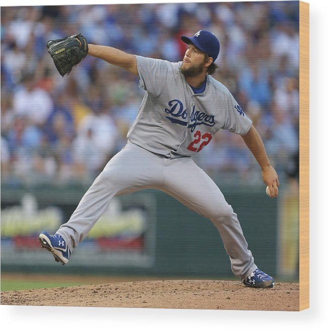 People Wood Print featuring the photograph Los Angeles Dodgers V Kansas City Royals 7 by Ed Zurga