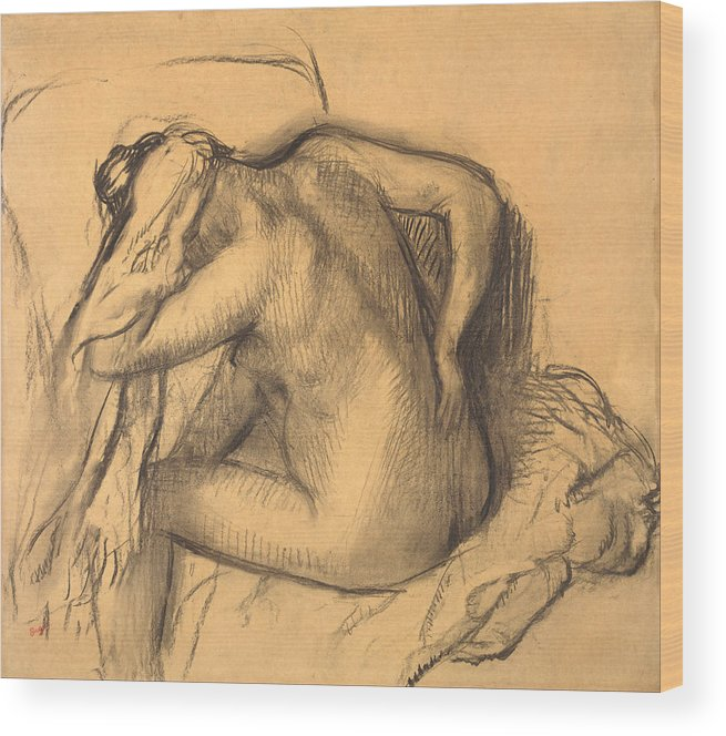 Edgar Degas Wood Print featuring the drawing After The Bath .woman Drying Her Hair by Edgar Degas