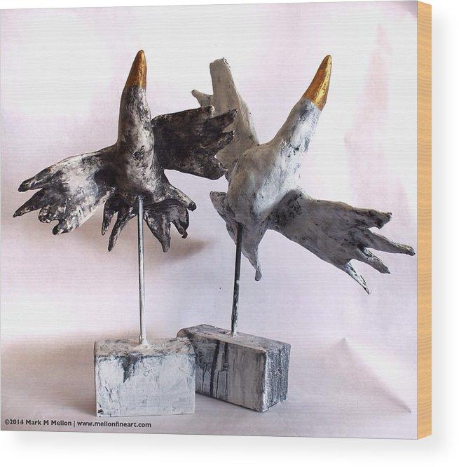 Birds Wood Print featuring the mixed media Fabulas Free Birds by Mark M Mellon