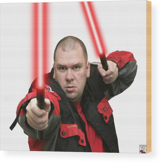 Jedi Master Randall M Rueff And Lightsaber Thirty Four Wood Print featuring the photograph Jedi Master Randall M Rueff And Lightsaber Thirty Four by Randall M Rueff