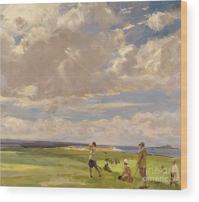 American; Golfing; Links; Golfer; Course; Scottish; Landscape; Clouds; Glasgow Boys; Drive Wood Print featuring the painting Lady Astor Playing Golf At North Berwick by Sir John Lavery