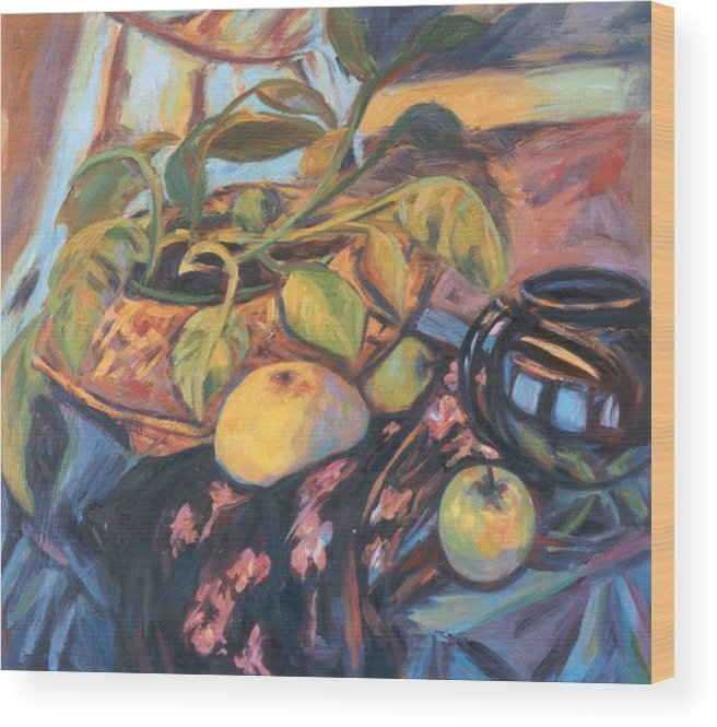 Still Life Wood Print featuring the painting Pollys Plant by Kendall Kessler