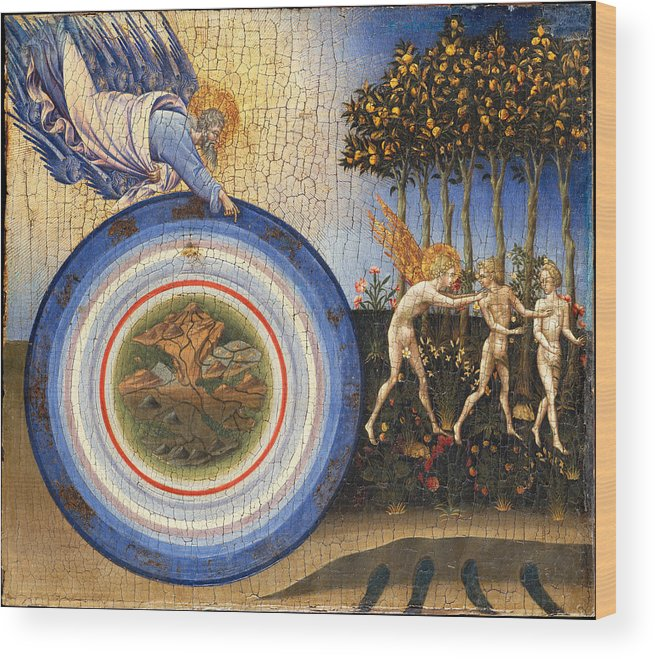 Religion Wood Print featuring the painting The Creation Of The World And The Expulsion From Paradise by Giovanni Di Paolo