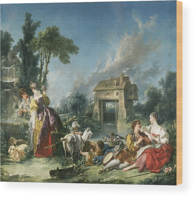 Boucher Wood Print featuring the painting The Fountain Of Love by Francois Boucher
