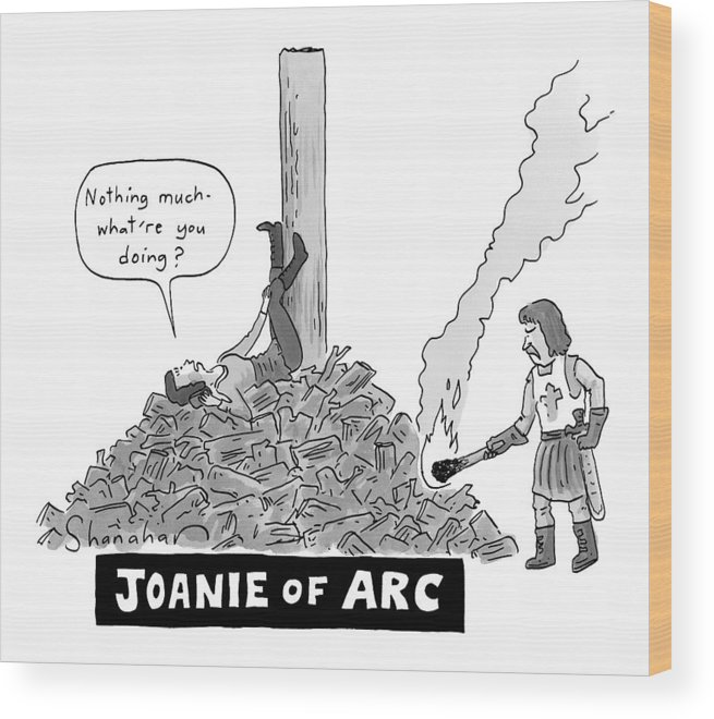 Joanie Of Arc Wood Print featuring the drawing Title: Joanie Of Arc. A Teenage Joan Of Arc Rests by Danny Shanahan