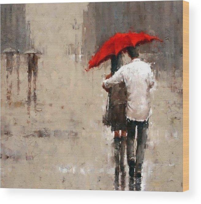 Wood Print featuring the painting Umbrella by IAMJNICOLE JanuaryLifeBrand