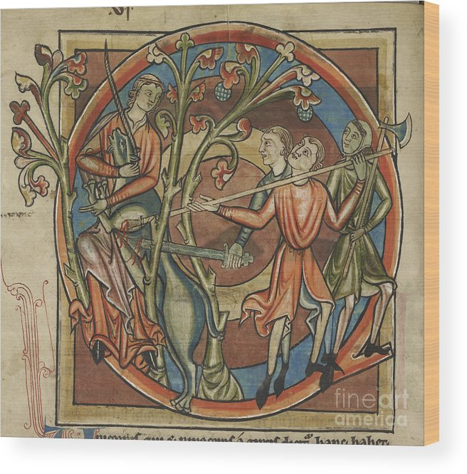 Unicorn Wood Print featuring the photograph Unicorn Enticed By A Virgin by British Library