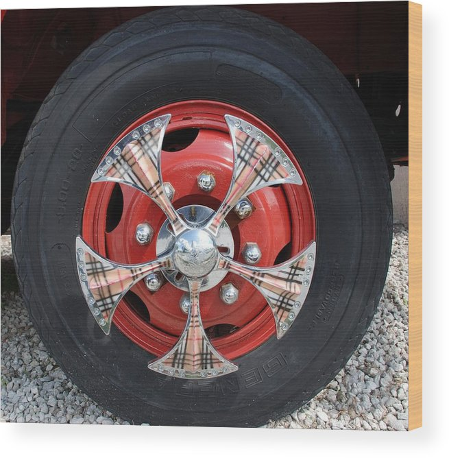 Tires Wood Print featuring the photograph Fire Truck Spinners by Rob Hans